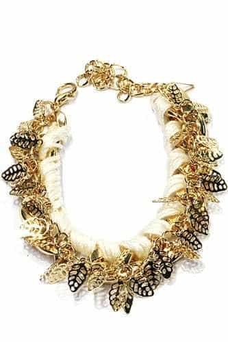 White Bracelet With Gold Leaves.Click here for more beautiful bracelets. Shop all musthave jewellery by Aphrodite. Free worldwide shipping and gift.