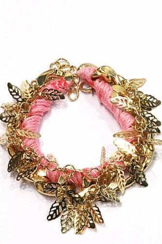 Pink Bracelet With Leaves. Click here for more beautiful bracelets. Shop all musthave jewellery by Aphrodite. Free worldwide shipping and gift.