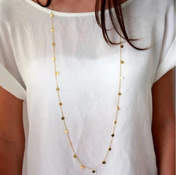 long necklace, coins, jewellery, silver, gold