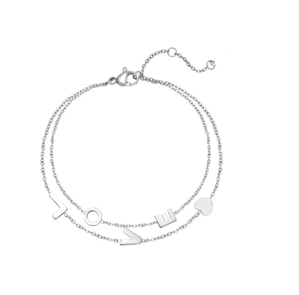 love, armband, sieraad, sieraden, armbandjes, trendy, hip, letters, stainless steel, roestvrije staal, nikkel vrij, subtiel, minimalistisch, fijn