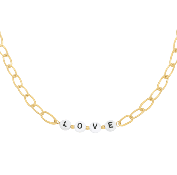 love necklace, stainless steel, nickel free, jewellery, jewelry, gold, silver, women