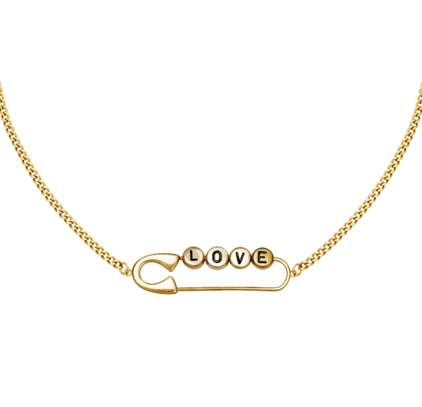 love necklace, pendant, stainless steel, nickel free, gold, silver, letters
