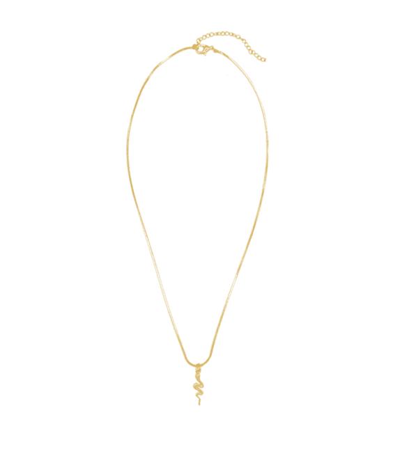 minimalist necklace, snake, stainless steel, nikkel free, gold, snake, pendant, women