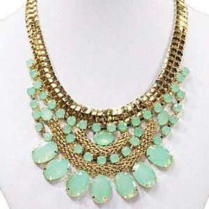 Statement Necklace With Mint Green Gems.Click here for more beautiful statement necklaces. Shop all musthave jewellery by Aphrodite.Free worldwide shipping.