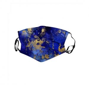 mondkapje, mondmasker, blauw, goud, accessoires