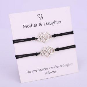 moeder, dochter, armbanden, set, sieraden. accessoires, jewellery, zilver, hartje