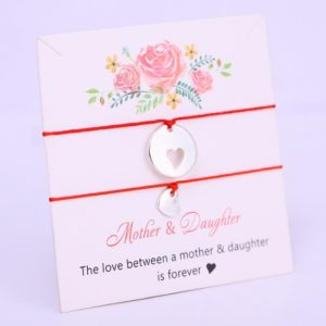 mother daughter, bracelet set, red, heart