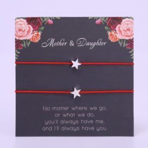 mother and daughter bracelet, red bracelet, star, mothersday, jewellery