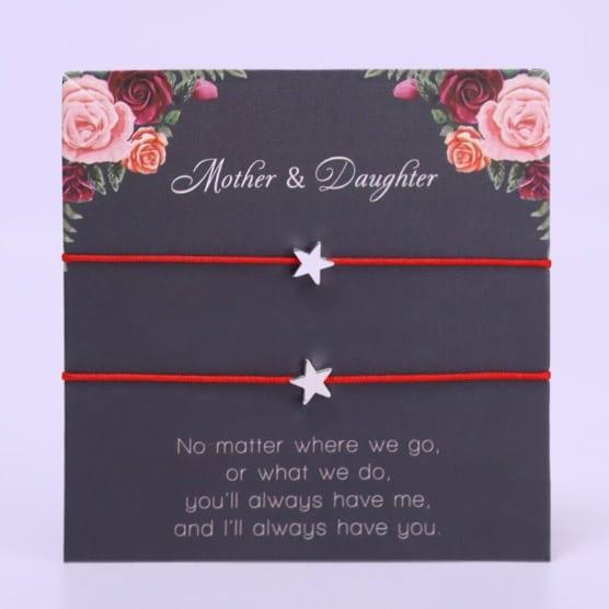 mother and daughter bracelet, red bracelet, star, mothersday, jewellery