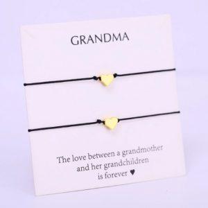 oma, kleindochter, grootmoeder, armbanden, set, hartje, sieraden, accessoires