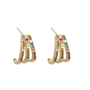 oorbellen, gekleurde steentjes, gold plated, sieraden, dames, accessoires, zirkonia