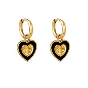 oorbellen hanger, hartje, goud, sieraden, dames, jewellery, bedel, sieraden, nikkel vrij, stainless steel, roest vrij staal