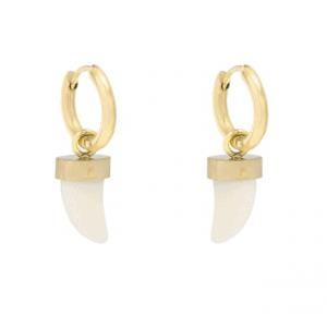 earrings, pendant, horn, stainless steel, nickel free, gold, white