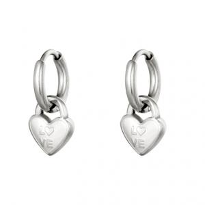 oorbellen hanger, bedel, love, hartje, stainless steel. roestvrij staal, rvs, nikkel vrij, dames, sieraden, accessoires