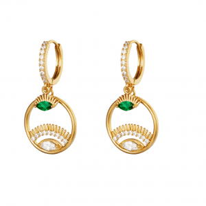oorbellen hanger, oog, zirkonia, diamanten, oorringen, creolen, accessoires, dames, jewellery