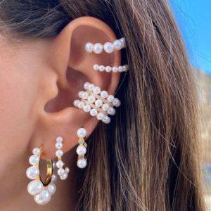 oorbellen set, parels, sieraden, accessoires, oorrrngen, ear cuff, dames