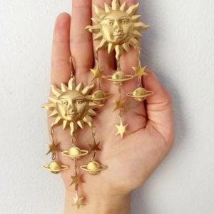 oorhangers, oorbellen, zon, zilver, goud, sieraden, dames, accessoires
