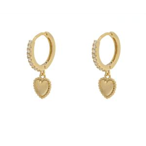 heart earrings, gold plated