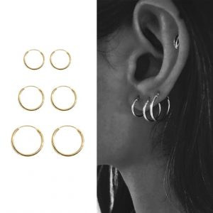 creole earrings, earrings set, gold, silver, minimalist