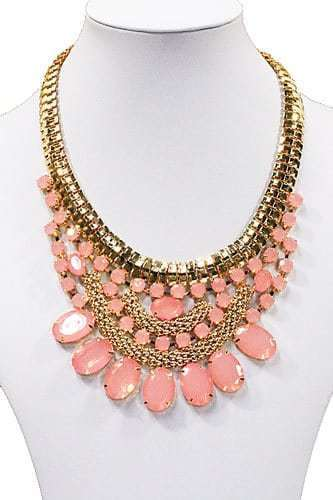 statement ketting, diamanten, roze, kristallen, dames, sieraad, sieraden