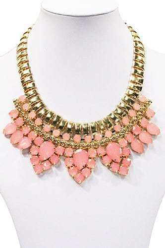 Statement Necklace With Pink Gemstones. Click here for more beautiful statement necklaces. Shop all musthave jewellery by Aphrodite. Free worldwide shipping