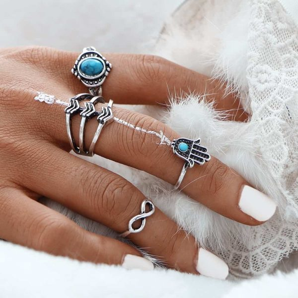 4 Pcs Bohemian Ring Set With Blue Stones.click hear to shop more beautiful rings.Shop all musthave jewellery by aphrodite. Free worldwide shipping and gift.