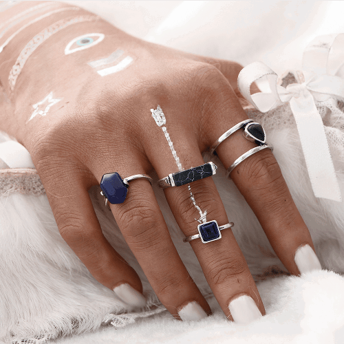 4 Pcs Marble Ring Set.click hear to shop more beautiful rings.Shop all musthave jewellery by aphrodite.Free worldwide shipping and gift.