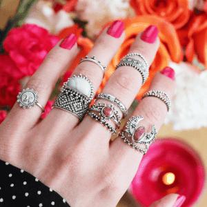 boho,ringset, met 14 verschillende ringen,bohemien,bohemian