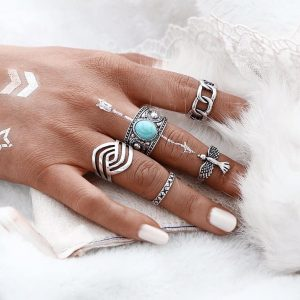 5 Pcs Boho Ring Set With Blue Stone. click hear to shop more beautiful rings. Shop all musthave jewellery by aphrodite. Free worldwide shipping and gift.