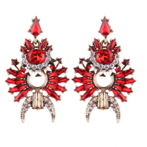 Red Statement Earrings With Crystals. Click here for more beautiful statement earrings.Shop all musthave jewellery by Aphrodite. Free worldwide shipping.