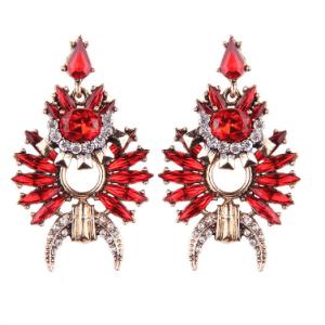 rode statement oorbellen ,kristallen, grote oorbellen , sieraden