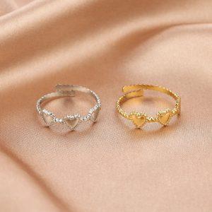 ring, hartjes, stainless steel, roestvrij staal, sieraden, dames, accessoires