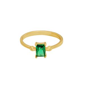 ring, rechthoekige steen, gold plated, groen, dames, nikkelvrij, leuk, accessoires