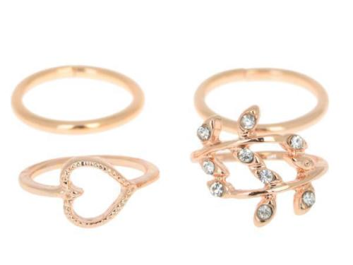 4 Pcs Gold Heart Ring set. click hear to shop more beautiful rings. Shop all musthave jewellery by aphrodite. Free worldwide shipping and gift.