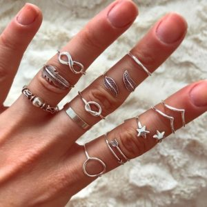 ring set, silver, circle, infinity, stars, featger