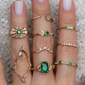 ring set, green crystals, zirconia, jewellery aphrodite