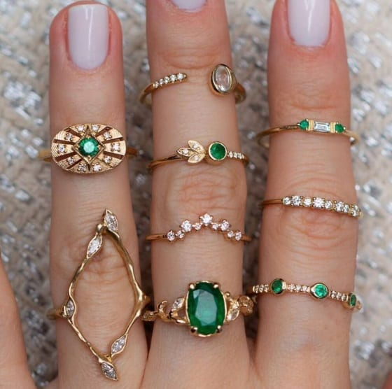 ringen set, groene kristallen, zirconia, sieraden