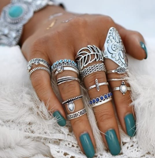 ring set, silver, jewellery, blue stones