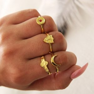 ring set, gold, baby, jewellery
