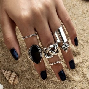 ring set, silver, black stone, knot, arrow, jewellery