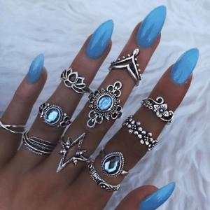ringen set, zilver, dames, vrouwen, accessoires, sieraden, trendy
