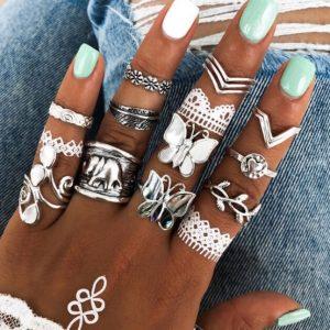 ring set, butterfly, silver ,elephant, statement, minimalist