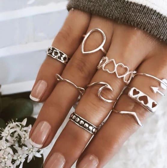 ringen set, ringetjes, zilver, wave, golfje, hartje, bali, pijl, sieraden, dames, jewellery