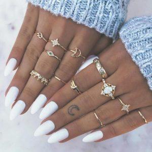 ringen set, goud, kristallen, sieraden, jewellery, jewelry, dames
