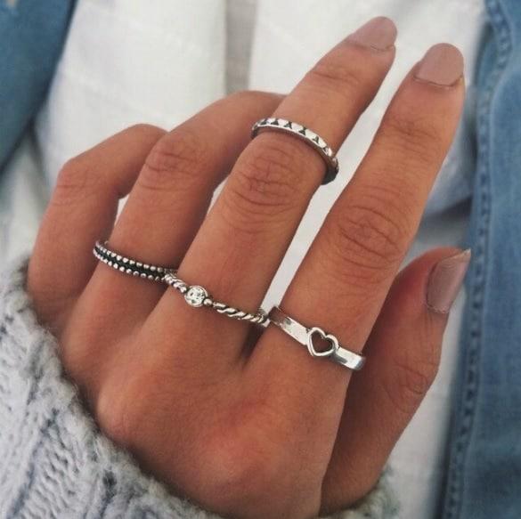 ringen set, zilver, hart, sieraden, trendy
