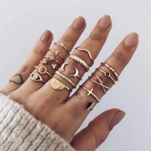 ring set, delicate, jewellery, gold, women, minimalist
