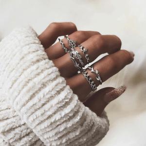 ringen set, zilver, subtiel, minimalistisch, sieraden, aphrodite
