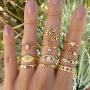 ringen set, oog , goud