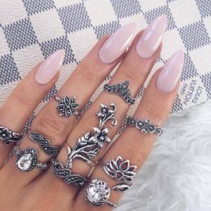 ring set, flowers, silver, jewellery