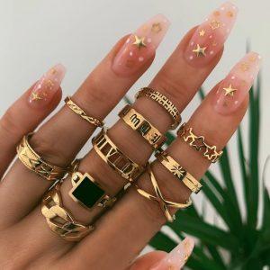 ringen set, goud, sterren, sieraden, dames